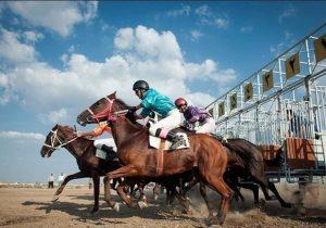 برگزاری زیرباران مسابقات اسب دوانی آق قلا