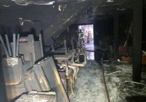 نجات۱۵ساکن یک ساختمان مسکونی در تهران ازحریق کارگاه مبل سازی